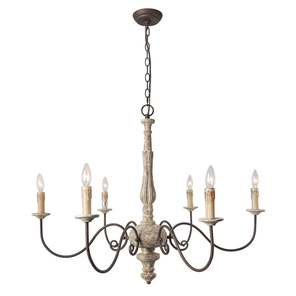 LALUZ 6-Light Shabby Chic French Country Chandelier Lighting Rustic Pendant Lights Wooden Chandeliers