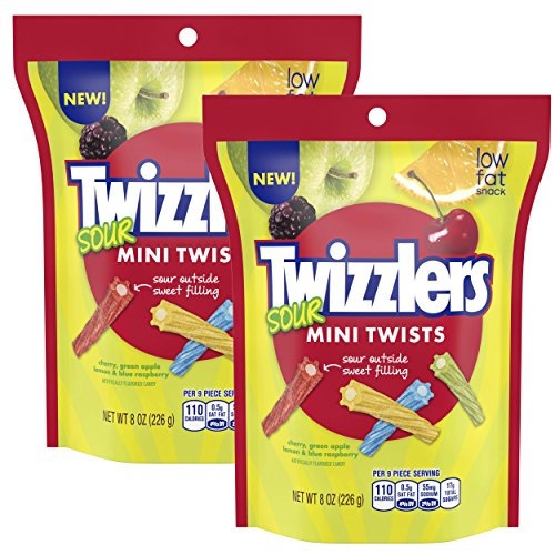 Two Bags of Twizzlers Sour Mini Twists, 8 Oz