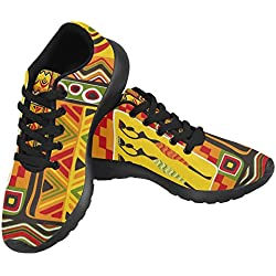 InterestPrint Women's Jogging Running Sneaker Lightweight Go Easy Walking Casual Comfort Running Shoes Size 8 Ancient African Symbols Geometric Ethnic Pattern
