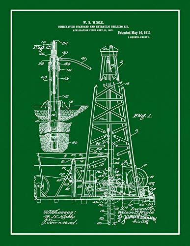 "Combination Standard and Hydraulic Drilling-rig Patent Print Green with Border (5"" x 7"") M12426"