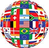"Custom & Unique {9'' Inch} 8 Count Multi-Pack Set of Medium Size Round Circle Disposable Paper Plates w/ International Flag World Countries Sports Collage Party ""Green, Red, Yellow & Blue Colored"""