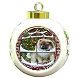 Please Come Home For Christmas Chow Chow Dog Sitting In Window Round Ball Christmas Ornament RBPOR48396