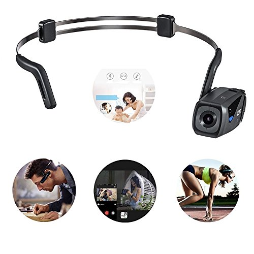 Bone Conduction Wearable Sport Camera Headset Support 1080P FHD Video Recording with WiFi Transmission/Bluetooth Call/Music Play Functions 700Amh Long Endurance Compatible for Gopro Hero Accessories DoNuuLi