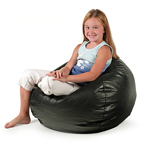 - Bean Bag Chair Small Standard Vinyl Cozy Comfort Seating Furniture for Kids Bedroom Living Room Durable, Stain-proof, Great for Reading Playing Video Games Watching Tv and Relaxing. (Matte Black)