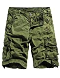 WenVen Men's Casual Cargo Short Pants Military Outdoor Wear Lightweight(WV3233 Military Green,30)