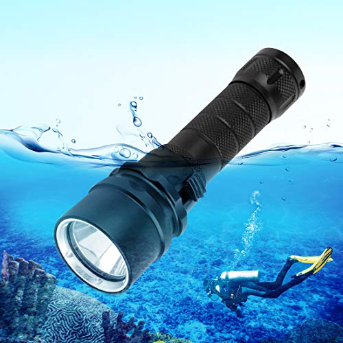 KOKOIN Diving Flashlight, 2000 Lumen Waterproof Underwater XM-L2 LED Submarine Lights Holder with Rechargeable 18650 Battery 100M Underwater LED Flashlight White Submersible Lights(Short 1000LM)