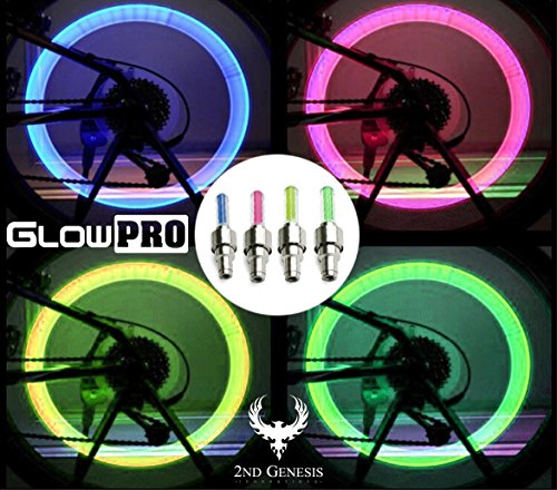 GlowPRO Bike Tire Valve Cap Light. Glow in The Dark LED Stocking Stuffer Wheel Lights are The Best Night Safety Reflective Gear. Improve Visibility Keeps Kids and Cyclists Safe
