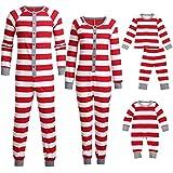 Seaintheson Family Matching Christmas Pajamas Set Onesie, Xmas Striped Print Holiday Sleepwear Nightwear Homewear