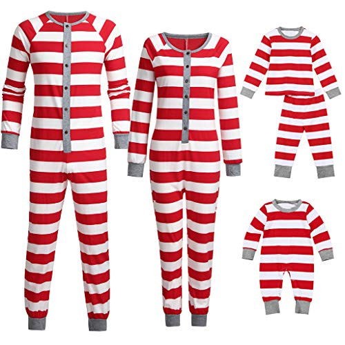 Seaintheson Family Matching Christmas Pajamas Set Onesie, Xmas Striped Print Holiday Sleepwear Nightwear Homewear