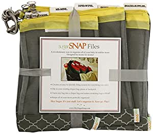 sugarSNAP Files A Set of 5 Mesh Diaper Bag Organizer Inserts gray+yellow