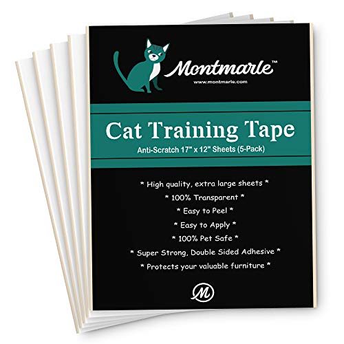 MONTMARLE Anti-Scratch Cat Training Tape - Protect Your Furniture Legs Couch Table Carpet - Pet Corrector Double Stick Tape - Cat Scratching Deterrent Fabric Protector (12