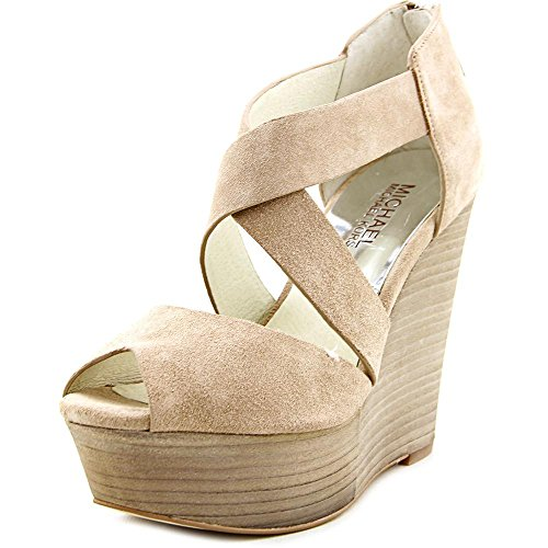 MICHAEL Michael Kors Womens ARIEL WEDGE Peep Toe Casual Leather Platform Sandals, Dk Khaki, Size 9