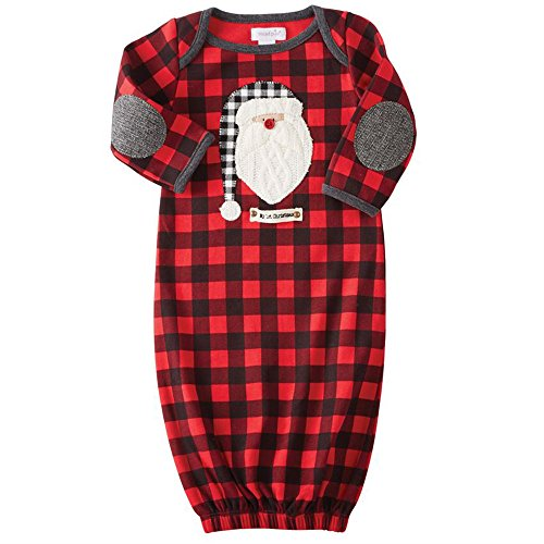 Mud Pie Baby Boy's Buffalo Check Santa Sleep Gown (Infant) Red 3-6 Months