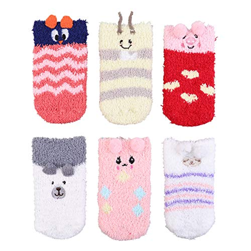 Lakkio 6 Pairs Toddlers Socks Fuzzy Baby Socks Infant Socks Colorful Animal Pattern Socks for Baby Boys Girls(12-24months)