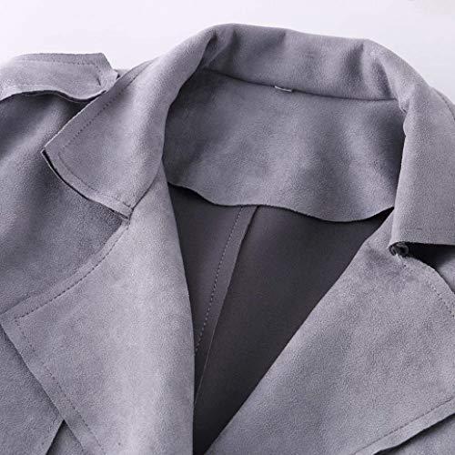 Cute Monocromo Chic Bavero Lunga Giubotto Cintura Fibbia Elegante Grau Cappotti Inclusa Trench Tasche Qualità Metallo Con Manica Camoscio In Alta Donna Windbreaker Invernali Moda Di fqOnYX6