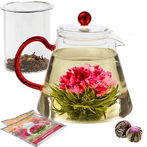 Teabloom Amore Glass Teapot Gift Set - Stovetop Safe Glass Teapot with Removable Glass Infuser - 4-6 Tea Cups (34 oz) - Two Blooming Tea Flowers Included ()