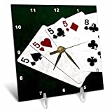 3dRose Alexis Photo-Art - Poker Hands - Poker Hands Four Of A Kind Five Eight - 6x6 Desk Clock (dc_270305_1)