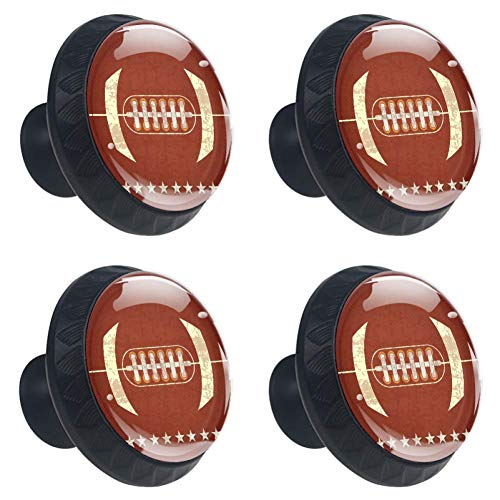 LORVIES American Football Drawer Knob Pull Handle Crystal Glass Circle Shape Cabinet Drawer Pulls Cupboard Knobs with Screws for Home Office Cabinet Cupboard (4 Pieces)