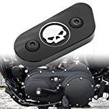 Motorcycle CNC Chain Inspection Cover Guard Chrome Skull Protect For Harley Davidson Sportster XL 883 1200 2014 2015 2016 Black