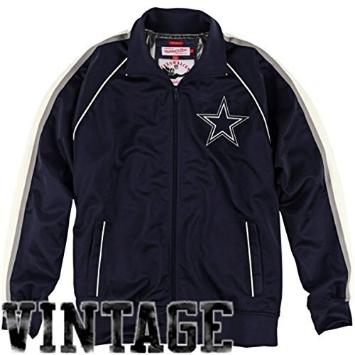 Mitchell & Ness Dallas Cowboys Snap Pass Full Zip Track Jacket - Navy Blue (L) -
