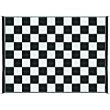 Camco Large Reversible Outdoor Patio Mat - Mold and Mildew Resistant, Easy to Clean, Perfect for Picnics, Cookouts, Camping, and The Beach (9' x 12', B/W Checkered  Design) (42827), Black & White Checkered