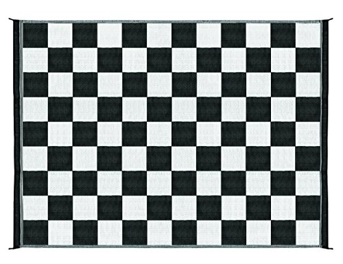 Camco Large Reversible Outdoor Patio Mat - Mold and Mildew Resistant, Easy to Clean, Perfect for Picnics, Cookouts, Camping, and The Beach (9' x 12', B/W Checkered  Design) (42827), Black & White Checkered (Best Flag Material For Outside)