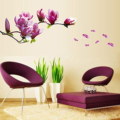 Magnolia Wall Stickers, E-Scenery Flower Peel and Stick DIY 3D Wall Decals Mural Art Wallpaper for Kids Room Home Nursery Party Window Decor]()
