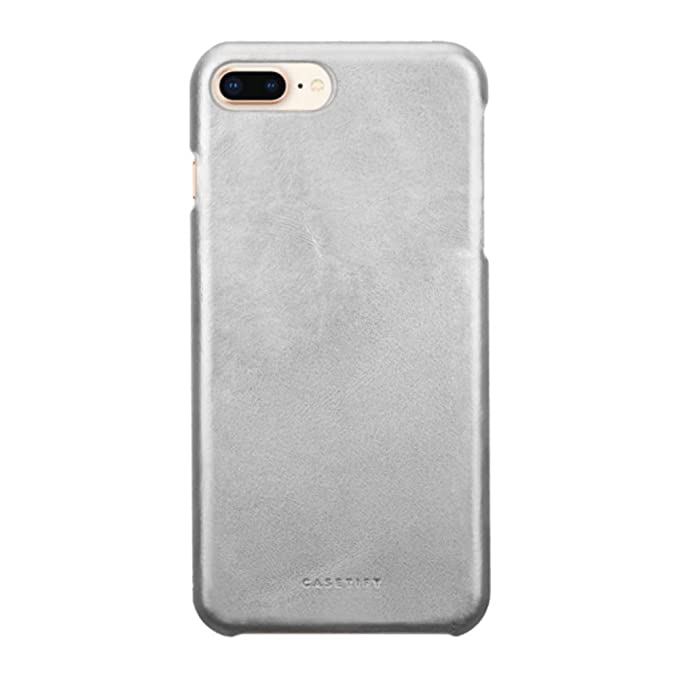 huge selection of e15a3 4e37f Casetify Silver Handmade Leather iPhone 8 Plus Case with Metallic Buttons  and Raised Lip for iPhone 7 Plus/ 8 Plus - Silver