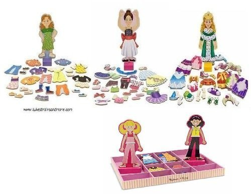 Melissa and Doug Magnetic Dress Up Dolls Bundle of 4: Nina the Ballerina, Princess Elise, Maggie Leigh and Abby/Emma