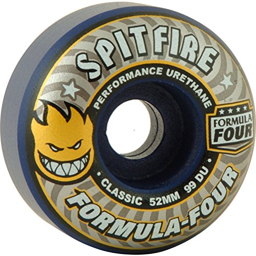 ゴムフリース振るSpitfire Wheels Formula Four Classic Midnight Run Navyスケートボードホイール – 52 mm 99 a ( Set of 4 )