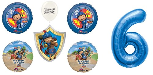 Mike The Knight Balloons Bundle Blue Number 1st-9th Birthday Option (6th Birthday) -