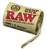 RAW Natural Unbleached Rolling Papers - Hemp & Beeswax Hempwick Roll 10ft / 3 Meters