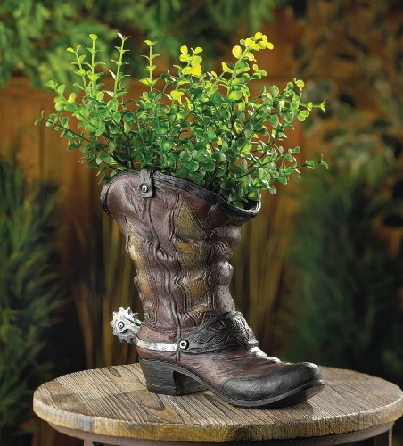 10015324 Wholesale Spurred Cowboy Boot Planter Garden Decor Decoration Outdoor Front Yard Frontyard Home House Grass Flowers