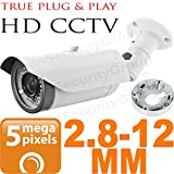 USG Ultra HD BNC Coaxial 5MP 2592×1944 Bullet Security Camera : 2.8-12mm Vari-focal Lens : Weather & Vandal-proof : 42x IR LEDs 130ft Night Vision : AHD CCTV Format : Business Grade