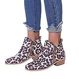 Gyoume Women Ankle Short Boots Shoes Leopard Print Boots Ladies Martin Boots Shoes Zipper Boot Shoes