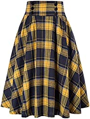 VBNG Women Plaid Skirt Vintage High Waist Pleated Long Skirt