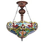 New Legend Tiffany Style Stained Glass 2-Light Inverted Hanging Lamp Ceiling Fixture TL16022 - 18-Inch wide