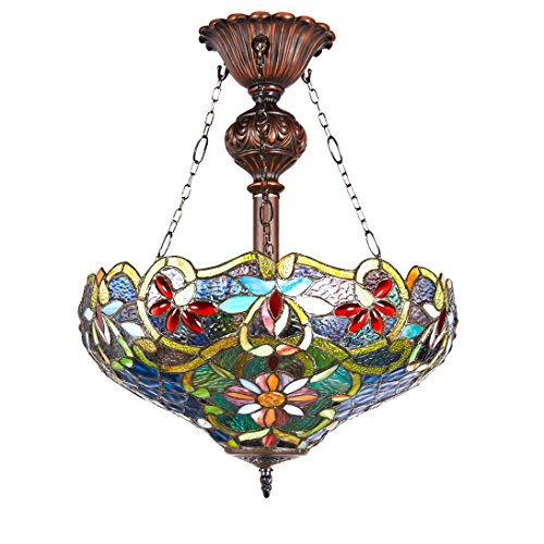 (New Legend Tiffany Style Stained Glass 2-Light Inverted Hanging Lamp Ceiling Fixture TL16022, 18-Inch)