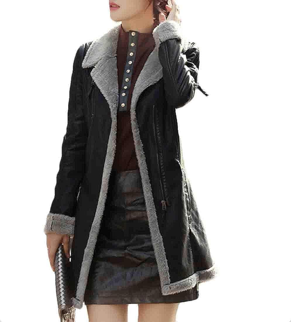 1 Esast Women's Faux Leather PU Motorcycle Fleece Lined Outwears Outwear Belted