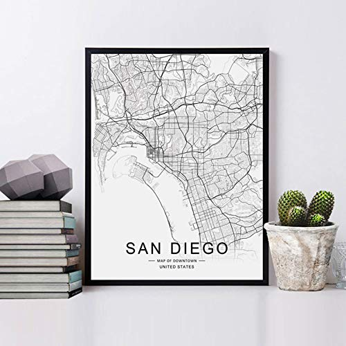 San Diego Map Downtown.Amazon Com San Diego City Downtown Map Wall Art San Diego Street