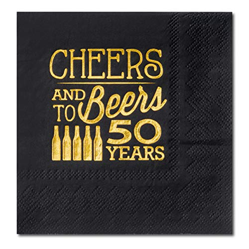 Crisky 50th Birthday Cocktail Napkins Black and Gold,