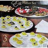 Classic Ceramic Egg Platter Set - 3pc, White