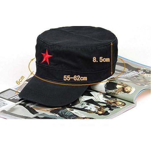 FHSOHG Hombres Pentagrama Tapas Planas Estrella Roja Gorra de ...