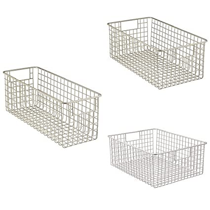 cfe0010b39c54 Amazon.com - 3-Piece Classico Deep Wire Storage Basket with Handles for  Organizing Kitchen Cabinets