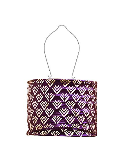 Allsop Home and Garden Soji Stella Drum LED Outdoor Solar Lantern, Handmade with Weather-Resistant Fabric for Patio or Garden, Color (Plum)
