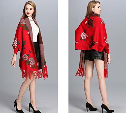 WanYang Tamaño E Chal Rojo Retro Chal Bufanda Borla Moda Mujeres Mujer Invierno Otoño Cárdigan Punto De De Grande H4qBRxwH