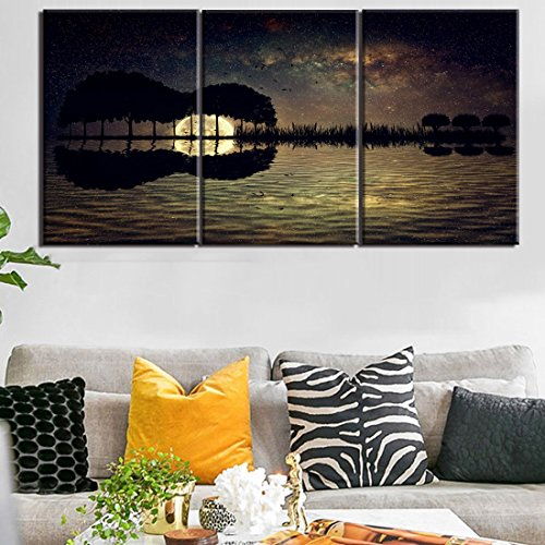 Iii Canvas Framed (Yatsen Bridge 3 Piece Canvas Painting Framed Guitar Island Moonlight Pictures for Living Room Sky Starry Poster Full Moon Night Picture for Home Decoration Artwork Ready to Hang(20 x 28inch/3))