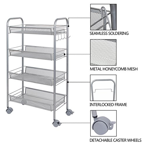 Lifewit Mesh Rolling Storage Cart With 4 Baskets And Hooks Import It All