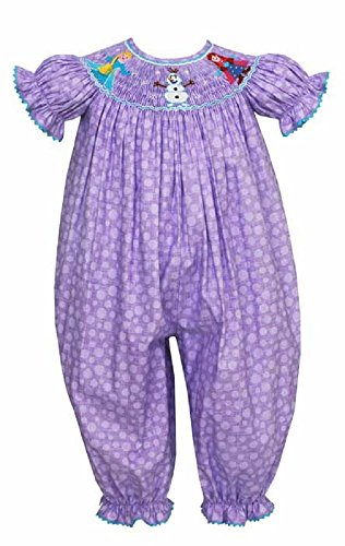 Anavini Purple- Anna-ELSA-Olaf Smocked Princess Romper 9 Month New