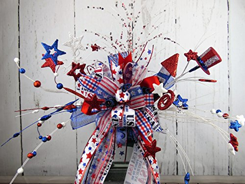 Independence Day Swag, July 4th  Patriotic Centerpiece,patriotic table decor